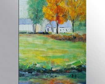 Landscape Painting - Early Spring Landscape with Trees & Meadowe - Oil Painting Art on Canvas - Original Artwork - Oil Painting Framed