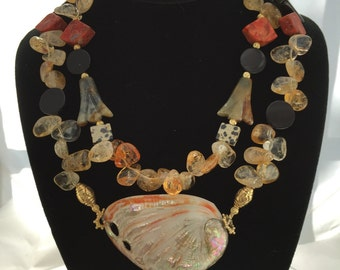 Gorgeous SHELL and CITRINE Two Stranded Necklace