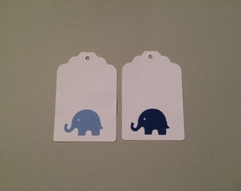 24 blue elephant gift tags, thank you tags, favor tags, wishing tree tags, baby shower, DIY tags, baby shower favors, elephant birthday