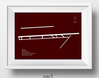 MLB Melbourne Airport in Melbourne Florida USA Runway Silhouette Modern Wall Art