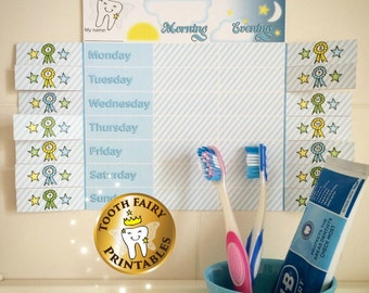 Tooth fairy Teeth Brushing Chart for boys - Instant Download Printable chart