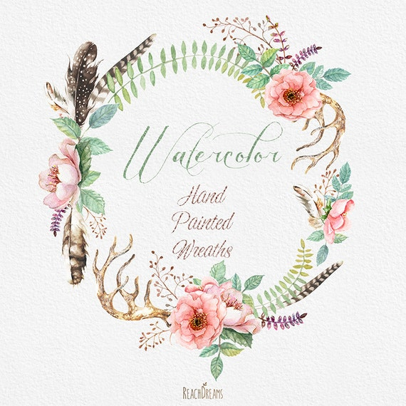 Watercolour Flower wreaths with Floral elements and ...