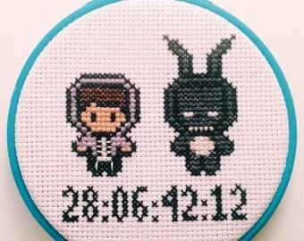 "Donnie Darko - 28.06.42.12 - 4"" Cross Stitch Embroidery Hoop"