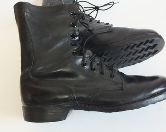 Vintage RO-SEARCH Military Jungle Combat Jump Boots. Black Leather. Sz  8.5 R