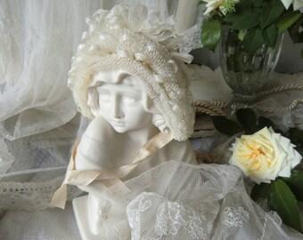 France antique baby dolls hood bonnet hood shabby chic