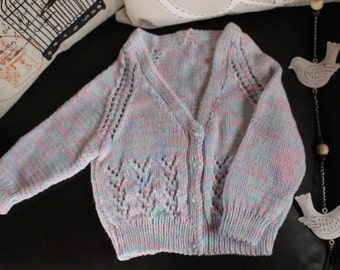 Rainbow Paddlepop - Knitted Cardigan - 6-12 mth old, multi colours