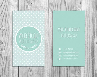 Cute Business Card Template for Photographers (digital Photoshop files, pre made, instant download)