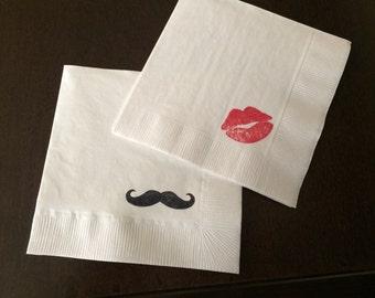 Mustache and Lips Napkins - Moustache, Little Man, Bridal Shower, Bachelor Party, Mustache Bash, Stache, Baby Shower, Gender Reveal Party