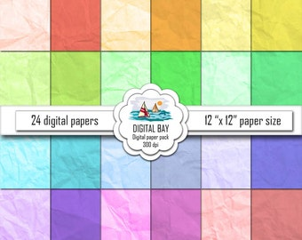 """COLORED PAPER - Digital paper pack – Instant download - Scrapbook Paper – 12"""" x 12"""" - Commercial use –Digital background"""