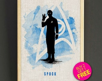 Star Trek Print, Spock Print, Watercolor Print, Home Decor, Wall Decor, Office Decor, Housewarming, Christmas Gift - Buy 2 Get 1 FREE -53s2g