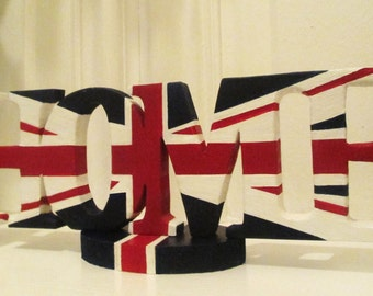 Union Jack HOME letters with a detachable base.   A unique stylish peice that will enhance any area of the home.