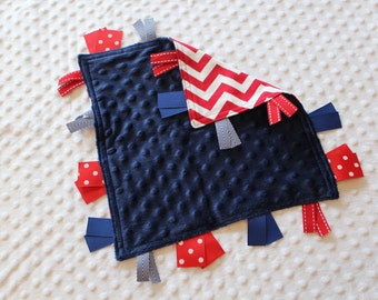 Personalized Tag Minky Sensory Ribbon Blanket Lovey- Red White and Blue, Red Chevron and Navy Minky Dot, Patriotic *PREMADE SALE!*