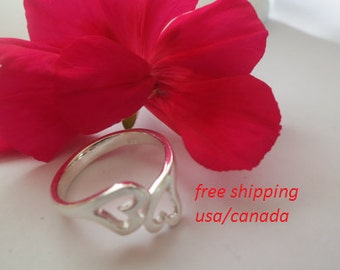 Sterling silver heart ring;
