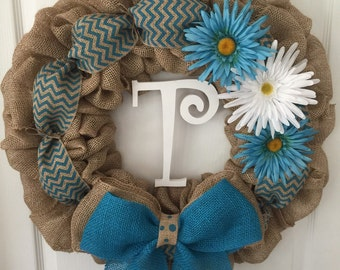 Personalized chevron and flower wreath