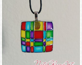 Hand painted glass pendant necklace Colourful