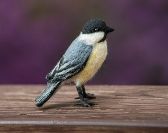 Chickadee needle felted handmade wool bird