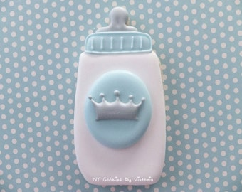 Baby Prince Bottle Cookie with a Crown , - 12  Cookies Favors -  Baby Shower Cookies