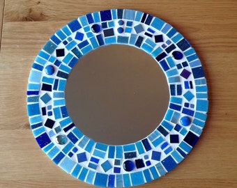 Blue Round Mosaic Wall Mirror - Bathroom 30cm