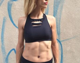 New Women's Yoga Black Bra, Compression Tank Top, Workout Bra, Womens Sport Bra, Fitness Design Bra by SSDfashion