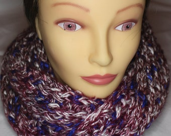 Red White and Plum Scarf~TamsCraftyKnits
