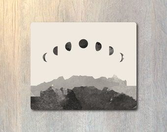 Phases of the Moon Mouse Pad - Luna Space Computer or Office Work Station Decor