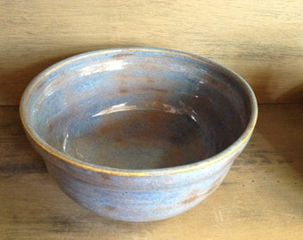 Blue Stoneware Pottery Serving or Mixing Bowl