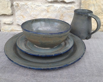 Wheel Thrown Pottery Place Setting Smoke and Cobalt - Made to Order