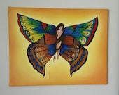 Butterfly Fairy Art .Original Oil painting of butterfly Fairies on canvas ready to hang.