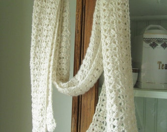 Cashmere Shawl Crochet ivory white cream handmade natural new lace soft unique light scarf wrap shawlette