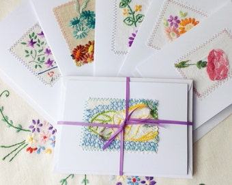 10 x vintage embroidery greetings card