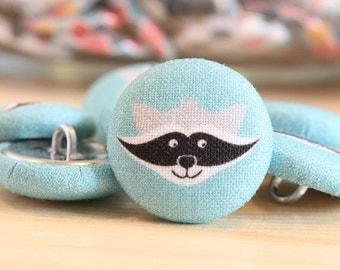 Fabric Covered Buttons - Raccoon on Turquise - 1 Medium Fabric Buttons