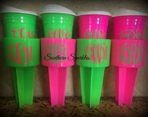Beach Spiker Set Matching Cup Set ~ Reuseable cup ~ Monogrammed Cup ~ Monogram Beach Spiker ~ Personalized Cup with Lid ~ Mother's Day Gift