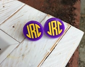 Monogrammed Acrylic Earrings-Monogrammed Acrylic Studs-Purple Monogrammed Earrings-Purple Stud Earrings-Purple Monogram Studs-Monogram