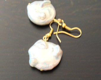 Fresh water pearl dangling earrings with gold filled post