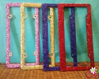 Glitter Plastic License Plate Frame (Your Choice of Color)