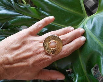 Gold ring ,Hammered ring ,18kt goldplated silver,Handmade silver 925