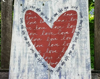 Love the life you live, Live the life you live sign / reclaimed wood sign / pallet signs / Bob Marley quote / quote sign / motivational
