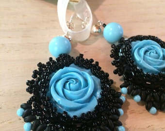 Tourquoise Rose Earrings