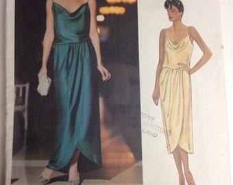 1137 Vogue American Designer Evening Dress Front Wrap Dress Sz 12 B34 Kasper