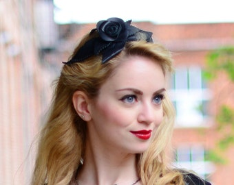 Hairband Black Leather Rose