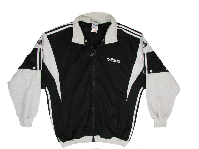 retro adidas jacket black white vintage 90s jacket by. Black Bedroom Furniture Sets. Home Design Ideas