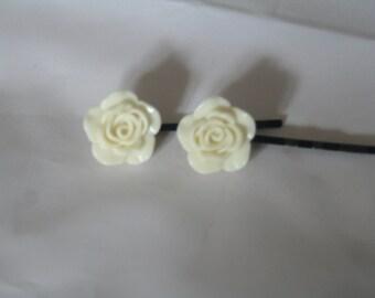 Ivory rose flower bobby pins- flower bobby pins-rose bobby pins- bobby pins