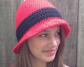 Red,black trim,flower,brimmed,crochet,chemo