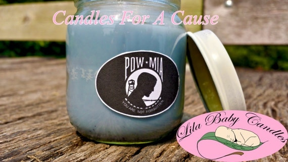POW-MIA Candle Gray Soy Wax, Soy Wax Candle, Gray Candle, Charity Candle, Awareness Candle, Scented Candle, Donation Candle, Soy Candle