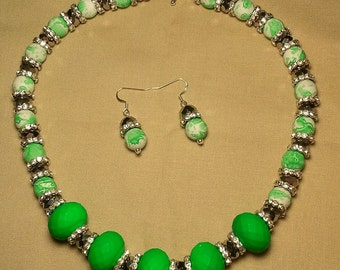 Handmade lime green with glass beads