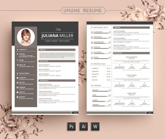 instant download free modern resume template
