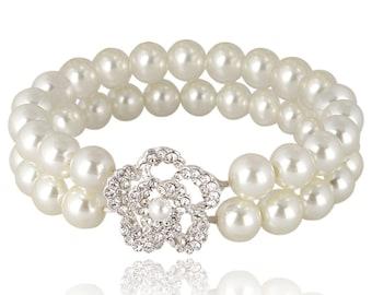 Ivory Pearl Bracelet,  Bridal Bracelet, Stretch Pearl Bracelet,  Wedding Bracelet, Pearl Crystal Rose Bracelet, Two-Row Pearl Bracelet
