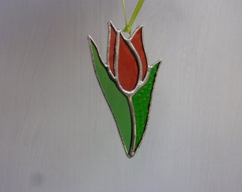 pretty tulip stained glass suncatcher