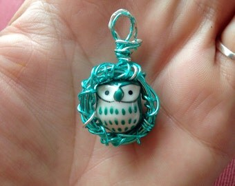Teal Owls Nest Pendant
