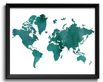 World Map Print Green Teal Watercolor Poster Print Globe Modern Abstract Landscape Art Painting